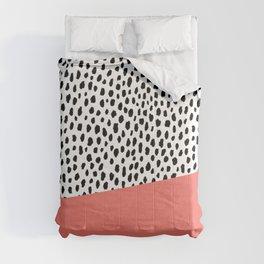 Dalmatian Spots with Coral Stripe (Pantone Living Coral) Comforters