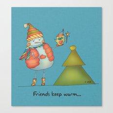 Friends keep warm Canvas Print