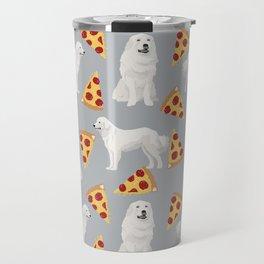 Great Pyrenees pizza dog portrait custom dog breed art print dog person gifts for christmas Travel Mug