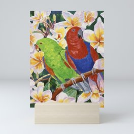 Green & Red Parrots Mini Art Print