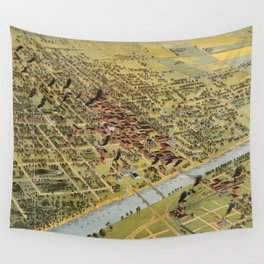 Vintage Pictorial Map of Waco Texas (1892) Wall Tapestry