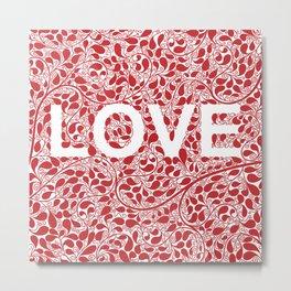 LOVE, floral typography Metal Print