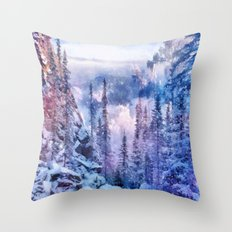 Winter forest in the mountains II Throw Pillow