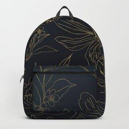 Elegant Gold Flowers outlines Blue gradient design Backpack