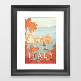 Italy, Cinque Terre Vintage Travel Poster Framed Art Print