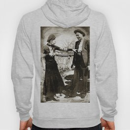 Painting Of Bonnie And Clyde Mock Hold Up Black And White Mugshot Hoody