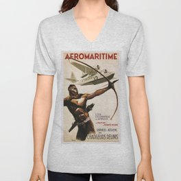 Vintage poster - Aeromaritime Unisex V-Neck