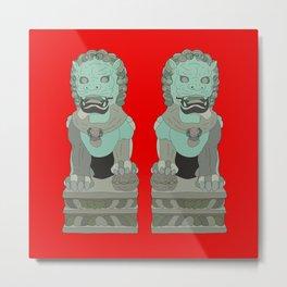 Lion Statues Metal Print