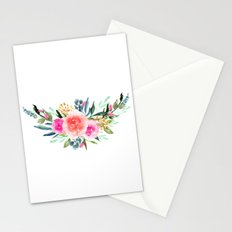 Bouquet OF flowers PINK AND ORANGE - PAINTED - watercolor Stationery Cards