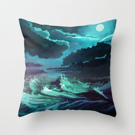 moonlit stormy sea Throw Pillow