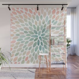 Floral Bloom, Abstract Watercolor, Coral, Peach, Green, Floral Prints Wall Mural