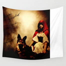 Red and Her Wolf Wall Tapestry