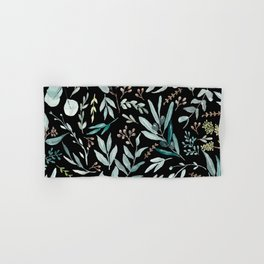 Black Eucalyptus Pattern Hand & Bath Towel
