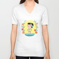 marine V-neck T-shirts featuring Marine by Lola Draloug