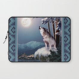 Lone wolf in the shadow of the city of Anchorage  Laptop Sleeve