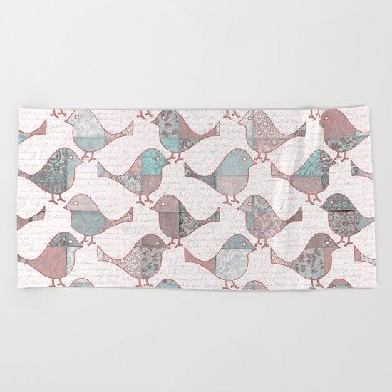 Vintage  Patchwork Birds handwriting pastel pattern Beach Towel