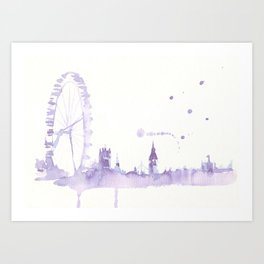 Watercolor landscape illustration_London Eye Art Print