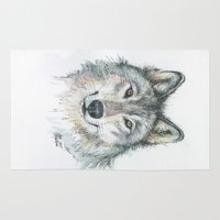 wolf Area & Throw Rugs featuring Wolf  by Olechka