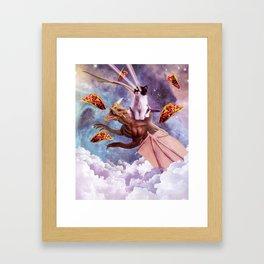 Laser Eyes Space Cat Riding Dragon Framed Art Print