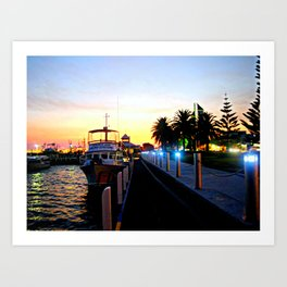 Night falls over lake Entrance Art Print