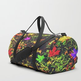 maple leaf in blue red green yellow pink orange with green creepers plants background Duffle Bag