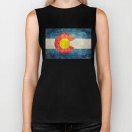 Colorado State Flag in Vintage Grunge Biker Tank