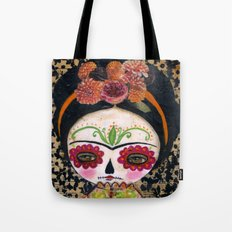 Frida The Catrina - Dia De Los Muertos Painted Skull Mixed Media Art Tote Bag