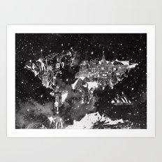 world map galaxy black and white Art Print