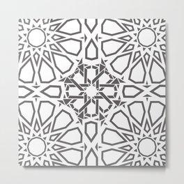 Moroccan Mosaic Gray Metal Print