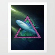 Shark in the triangle Art Print