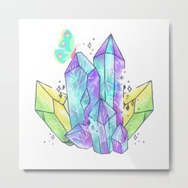 Crystal Blue Aqua Butterfly  Metal Print