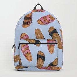 Birkenstocks Sandals Pattern   Pastel Blue Birkenstocks   Watercolor design pattern Backpack