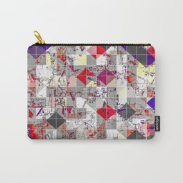 geometric square pixel pattern abstract in purple orange red Carry-All Pouch