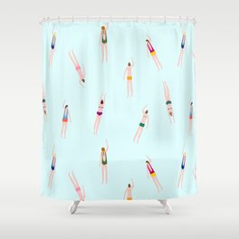 Swimmers in the pool Shower Curtain