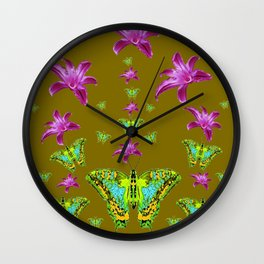 PURPLE LILIES BLUE-GREEN-YELLOW PATTERNED MOTHS Wall Clock