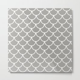 Grey Fish Scales Pattern Metal Print