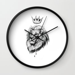 Cecil the Lion Black and White Wall Clock