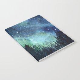 Galaxy Watercolor Aurora Borealis Painting Notebook
