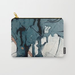 Fortune[4]: A bold, minimal, abstract mixed-media piece in blue and black Carry-All Pouch