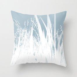 Field Flowers - Blue Throw Pillow