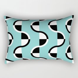 Geo Modern - Geometric Pattern Blue Black White Rectangular Pillow