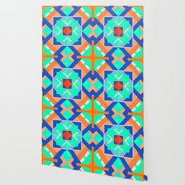 Geometric Tribal Mandala Inspired Modern Trendy Vibrant (Mint Green, Cobalt Blue, Orange) Wallpaper