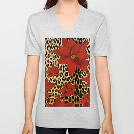 Animal Print Leopard and Red Poinsettia Unisex V-Neck