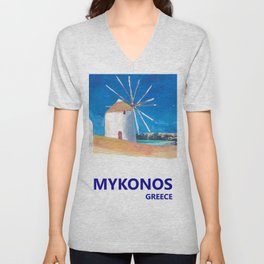 Mykonos Greece Windmill, Sea and Little Venice Travel Retro Poster Unisex V-Neck