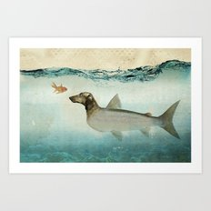Dog Fish Art Print