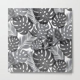 Tropical Shadows - White / Black Metal Print
