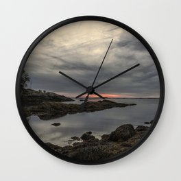 October Sunset at Plum cove Beach Wall Clock