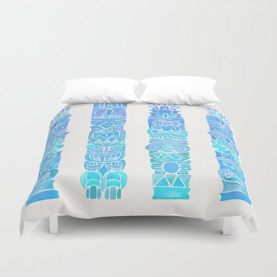 Tiki Totems – Turquoise Palette Duvet Cover