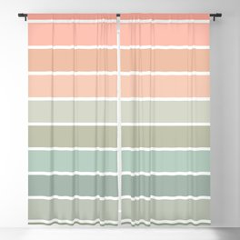 70s Stripe - pastel pink and mint, spring, pink stripes, desert, boho, dorm decor Blackout Curtain