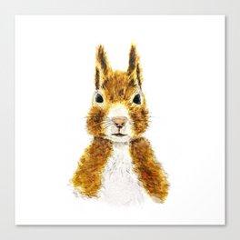 cute little squirrel watercolor Canvas Print